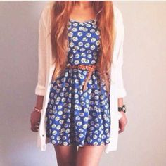Floral dress with brown belt and white cardigan (summer outfit)