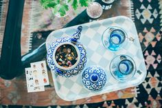 Herbal tea in blue and white