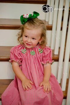 Smocked Day Dress - Christmas Tree - Oh Darling Don&-39-t You Ever ...