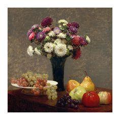 """Reprodukcja - Henri Fantin-Latour """"Asters and Fruit on a Table"""" - dostępna w wymiarach 20x20, 30x30, 40x40, 45x45, 50x50, 55x55, 60x60, 70x70, 80x80, 90x90 #fedkolor #reprodukcje #obraznapłótnie #HenriFantinLatour #AstersandFruitonaTable #astry #kwiaty #owoce #martwanatura #sztuka #obraz #art #dojadalni #dokuchni #dosalonu #dobiura #pomysł #wnętrza #interiors"""