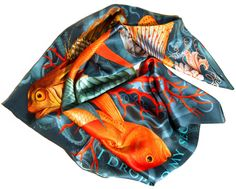 """""""The Secrets"""" - Silk scarf, 100% silk classic carré 90cm (36"""" square) by Heartbreak Salon. Premium silk charmeuse. Hand-rolled edge. ...Wrap yourself in the mystique of this coral reef-inspired silk scarf. If there is something small or something big for which you can't forgive yourself, just let it go. Drop that key, and the letter, and the ring into the depths... #silkscarf #silkscarves #designersilkscarves #designerscarf #ocean #coralreef"""