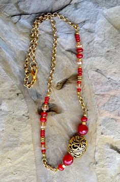 Red Ruby Necklace with Golden beads Handmade Gemstone by LKArtChic