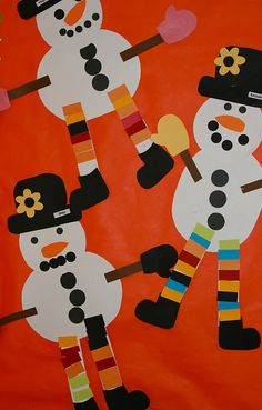Cute snowman craft for kids to use with the book Snowmen at Night - would make a cute bulletin board!use paper punches Winter Art Projects, Winter Crafts For Kids, Winter Fun, Winter Ideas, Christmas Crafts For Kids To Make At School, Preschool Christmas, Christmas Art, Preschool Winter, Kindergarten Art