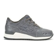 Asics Gel-Lyte III Trainers - Grey/Grey ($76) ❤ liked on Polyvore featuring shoes, sneakers, grey, flat sneakers, lace up sneakers, asics shoes, leather low top sneakers and lace up flat shoes