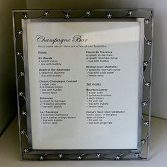 Inspiration for future party featuring champagne bar.