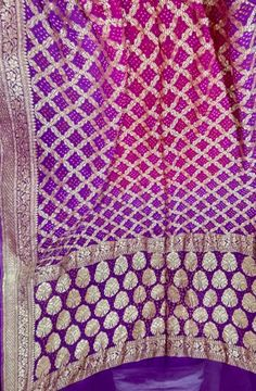 Pink and Purple Hand Bhandej Banarasi Bandhani Pure Georgette Saree Pure Georgette Sarees, Bandhani Saree, Banarasi Sarees, Purple Hands, Elegant Saree, Leh, Buy Sarees Online, Saris, Exclusive Collection