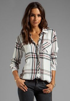 RAILS Hunter Button Down in White/Navy at Revolve Clothing - Free Shipping!