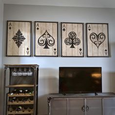 Set of aces wall art spades hearts clubs diamonds casino decor metal poker card with weathered wood Garage Game Rooms, Game Room Basement, Modern Industrial Furniture, Vintage Industrial Furniture, Industrial Wall Art, Industrial Office, Industrial Table, Industrial Interiors, Industrial Lighting