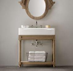 Vanity & Sink - Brown Oak or Weathered Oak depending on floor finish - Single Console Sink Bathroom Trends, Bathroom Sets, Small Bathroom, Bathroom Vanities, Sinks, Guest Bathrooms, Bathroom Inspo, Washroom, Bathroom Designs