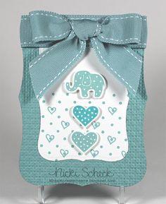 Baby card.  cute layout, use SU Label Framelits or Top Note die