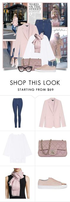"""""""Pink Blazer and Cap Toe Sneakers"""" by brendariley-1 ❤ liked on Polyvore featuring Nicole, Theory, ADAM, Chanel, Gucci, Axel Arigato, Valentino, Stella & Dot, women's clothing and women"""
