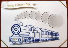 Stitched card steam train