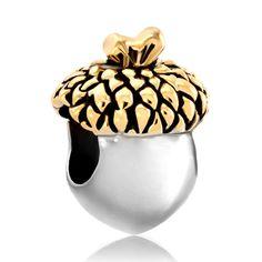 b07c148df Silver Gold Leaf Acorn Fruit European Bead Designer Charm Bracelets, Charms  Beads, popular pugster charms | Pugster.com