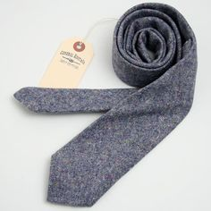 Misty Blue Wool Donegal Necktie - vintage ties handmade in the United States