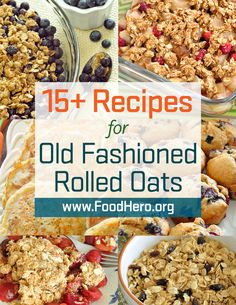 Old Fashion Rolled Oats in Recipes.  Different ways to cook with old fashioned rolled oats! Healthy oat recipes.  Food Hero  - Healthy Recipes that are Fast, Fun and Inexpensive.  Food Hero #oats. Save money.  Food Hero recipes are available in English and Spanish.  #recipes #healthyrecipe.  Oat recipes from Food Hero. #20minuterecipes Oat recipes kids will love.