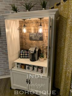Refurbished Furniture, Repurposed Furniture, Furniture Makeover, Painted Furniture, Armoire Makeover, Refurbished Cabinets, Distressed Furniture, Coffee Bar Home, Home Coffee Stations