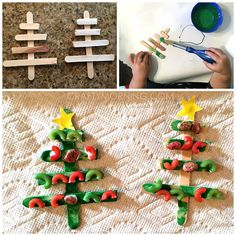 How cute are these decorated craft stick Christmas trees?! Thanks to Lindsay on Instagram for letting me share her idea. I always love to find new ways to use up old noodles from the pantry :-) Materials Needed: Popsicle sticks Green paint Food coloring/bowls Glue Yellow paper First you will want to submerge your noodles …