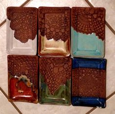 Lace impressed soap dishes by Linda Neubauer Pottery