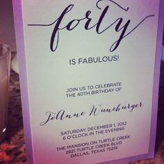 Forty is fabulous 40th birthday party invitation by Harper Gray