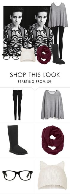 """""""Airport w/ Jacob Whitesides"""" by kimcrawford3 ❤ liked on Polyvore featuring Superfine, H&M, UGG Australia, Athleta and Topshop"""