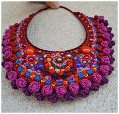 statement crochet necklacepurple crochet jewelry by Marmotescu Textile Jewelry, Fabric Jewelry, Jewelry Art, Freeform Crochet, Bead Crochet, Crochet Necklace, Festival Bracelets, Crochet Accessories, Crochet Clothes