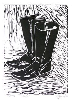 Hand Printed Lino Cut Print  Boots  Limited Edition by LinoPrint, $20.00