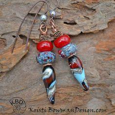 Southwestern Spike Lampwork Earrings by KristiBowmanDesign on Etsy