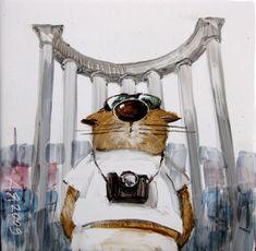 Худ.Ярышкин Анатолий Art And Illustration, Illustrations Posters, Vintage Cat, Cat Love, Cat Art, Animals And Pets, Cats And Kittens, Folk Art, Art Drawings