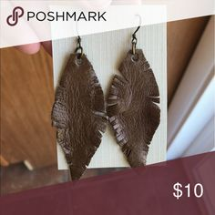 """Handmade earrings Hand crafted earrings made out of leather. Perfect boho look! Light as a """"feather"""" too. Jewelry Earrings"""