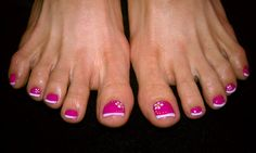 pedicure with pink base and white french tip-minus the flower.  Bling instead!