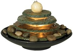 Pyramid Feng Shui Ball Lighted Table Fountain from Universal Lighting and Decor Indoor Tabletop Water Fountain, Table Fountain, Indoor Water Fountains, Garden Fountains, Fountain Ideas, Outdoor Fountains, Garden Totems, Feng Shui Fountain, Indoor Water Features