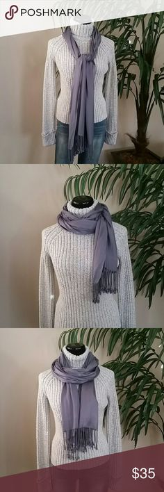 Classic Gray/Blue Fringe Scarf Classic Gray/Blue Fringe Scarf Real Haute Trends  Accessories Scarves & Wraps