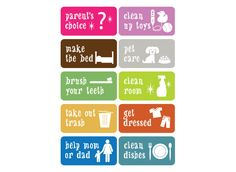 chore chart icons | Chore Chart Task Stickers | ScriptureArt® Chores And Allowance, Chores For Kids, Silhouette Projects, Brush Cleaner, Planners, Homeschooling, Charts, Beast, Crafts For Kids