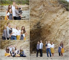 large family portrait, photography, Laguna Beach session, rocks, cliffs, ocean, outfit, colors, Gilmore Studios