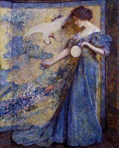 Robert Reid (1862-1929) - The Mirror.  Iemand zou echt een mode shoot hierop geinspireerd moeten schieten! Hoe mooi!