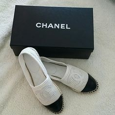 Chanel perforated mesh net Espadrilles Never been worn outside. Only tried once at the store to get my size. 100% authentic and purchased at the chanel boutique in Hawaii. This is a specific style from spring summer 2014. No longer available and sold for short period of time. I normally wear a size 6 but for this season it ran really small so I had to go 2 sizes up and purchase this size 38. These are not replicas! CHANEL Shoes Espadrilles