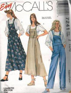 7241-Vintage-McCalls-Sewing-Pattern-Misses-Loose-Fitting-Jumper-Overalls-Easy