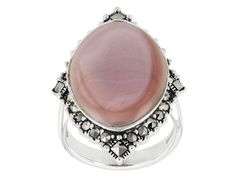 Pink Mother of Pearl and marcasite make this ring delicately edgy! ||Tillya Treasures(Tm) Marquise Pink Mother Of Pearl And Mixed Shapes Marcasite Sterling Silver Ring