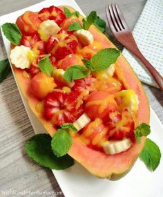 Papaya Bowl With Strawberries Papaya Banana Mango Drizzled With Mango Puree Hawaiian Mania  C2 B7 Hawaiian Salads