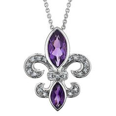 Ooh, I love this with the purple gems! Diamond and amethyst fleur de lis pendant, sterling silver