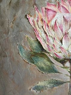 Protea flower painting, Oil on canvas, Abstract painting, effect, silver acry… - Modern Large Canvas Art, Diy Canvas Art, Abstract Canvas, Oil On Canvas, Protea Art, Protea Flower, Flower Oil, Painting Lamp Shades, King Art