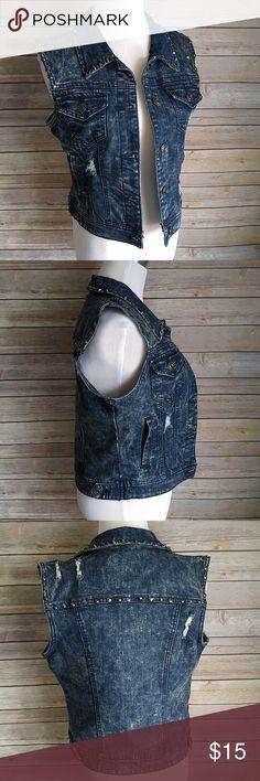 "Wax Jeans studded denim vest Great condition. 16.5"" pit to pit. 18.5"" length. wax jeans Jackets & Coats Vests"