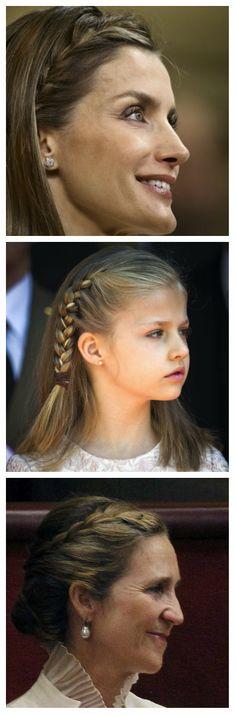 Las trenzas reinaron en las melenas de la realeza española hoy en la proclamación de Felipe VI como rey. La reina Letizia llevó una trenza a manera de vincha hacia un lado, con el cabello suelto atrás. La princesa de Asturias, Leonor, lució una trenza de un solo lado, atada por una sencilla liga marrón. La infanta Elena prefirió un recogido con una trenza a un lado.