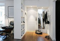 Great idea for more storage and add storage boxes or even close off one side with wood and add coat hooks! For a small house! For a rental house place or apartment! 15 Super Smart Ways to Use the IKEA Kallax Bookcase Fabric Room Dividers, Wooden Room Dividers, Hanging Room Dividers, Sliding Room Dividers, Glass Room Divider, Diy Room Divider, Divider Ideas, Bookshelf Room Divider, Ikea Bookcase