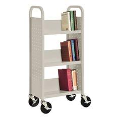 """Single-Sided Sloped-Shelf Book Truck (17"""" W)"""