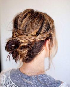 hermoso cabello recogido peinado semi largo
