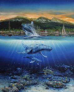 Lahaina Nirvana by Robert Lyn Nelson ~ whales turtles under sea art acrylic on canvas