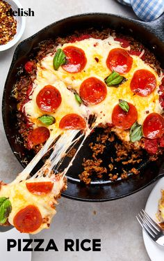 Pizza Rice will become your new favorite way to eat rice. Pizza Rice Recipe, Rice Recipes, Vegetable Recipes, Dessert Recipes, Yummy Recipes, Rice Dishes, Food Dishes, Main Dishes, Ingredients For Fried Rice