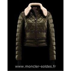 Doudoune Moncler Paris Col Fourrures Femme Vert