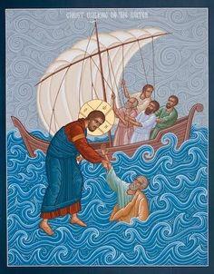 Cristo salva a Pedro de hundirse ícono